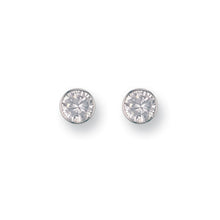 9ct White Gold 6mm Rubover Set Cz Studs Earrings - Queen of Silver