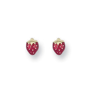 9ct Yellow Gold Enamelled Strawberry Studs Earrings - Queen of Silver