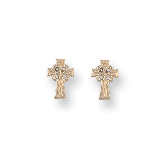 9ct Yellow Gold Celtic Cross Studs Earrings - Queen of Silver