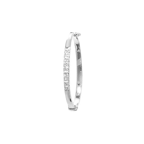 9ct White Gold Babies' Cubic Zirconia 4Mm Bangle