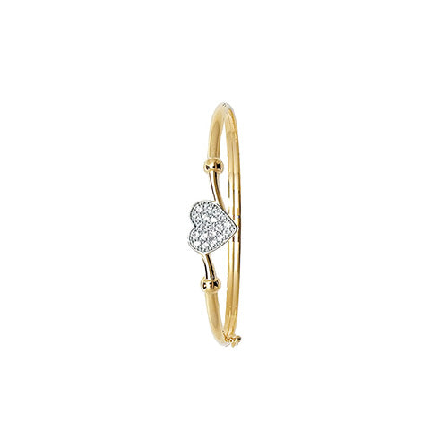 9ct Yellow Gold Babies' Cubic Zirconia Heart Bangle