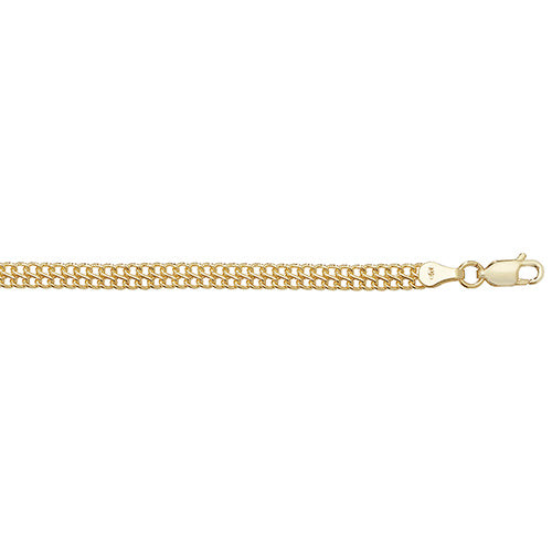 9ct Yellow Gold Ladies' 7.5 Inches Flat Woven Bracelet
