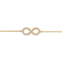 9ct Gold Ladies' 7.25 In Cubic Zirconia Infinity Bracelet