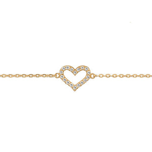 9ct Gold Ladies' 7.25 In Cubic Zirconia Heart Bracelet