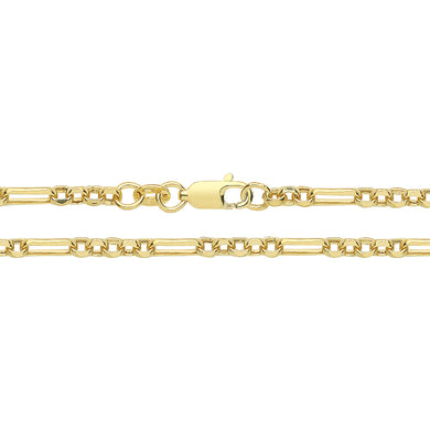 9ct Yellow Gold Hollow Figaro Belcher