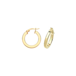 9ct Yellow Gold Square Tube Hoops