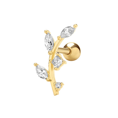 9ct Yellow Gold Cubic Zirconia Leaf Cartilage 6Mm Post Stud
