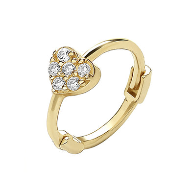 9ct Yellow Gold Cubic Zirconia Heart Cartilage Hoop