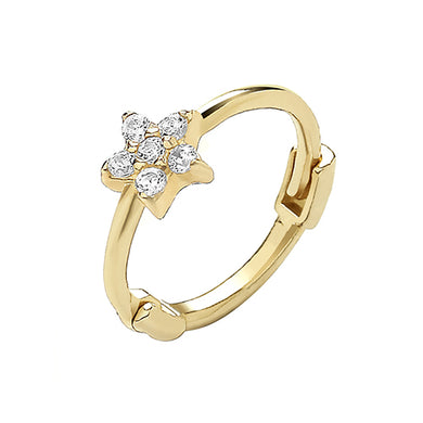 9ct Yellow Gold Cubic Zirconia Flower Cartilage Hoop