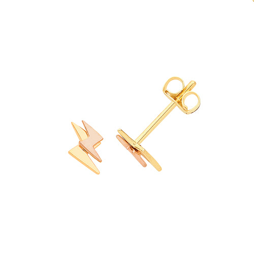 9ct Yel &Rose Gold Double Lightning Bolt Studs