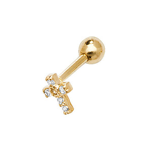 9ct Yellow Gold Cubic Zirconia Cross Cartilage 6Mm Post Stud