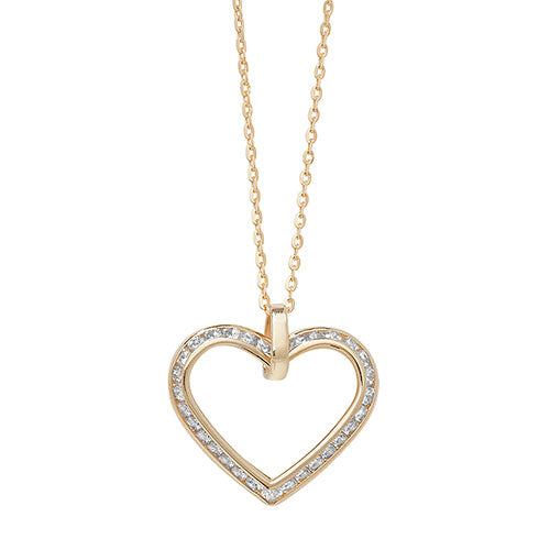 9ct Yellow Gold Ladies' 18 Inch Cubic Zirconia Necklet