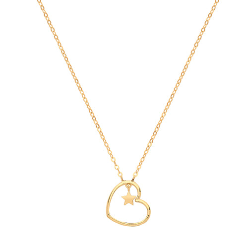 9ct Yellow Gold Heart With  Star  Charm Necklet