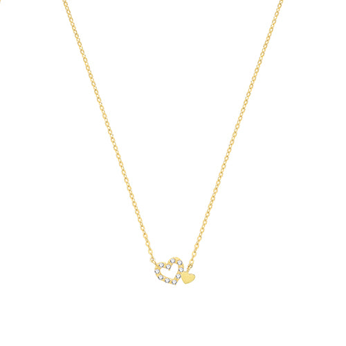 9ct Yellow Gold Double Heart Necklet