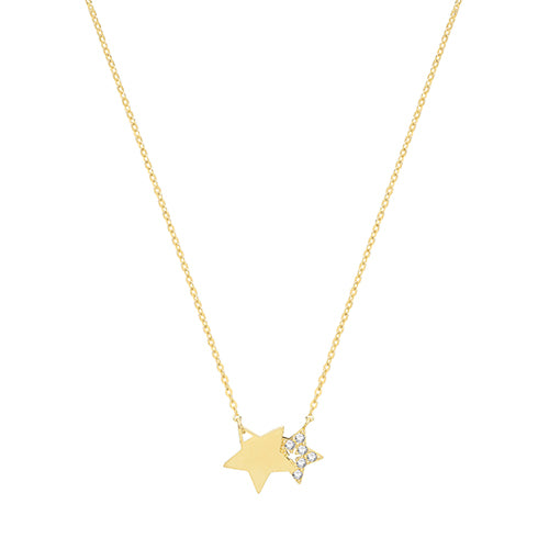 9ct Yellow Gold Double Star Necklet