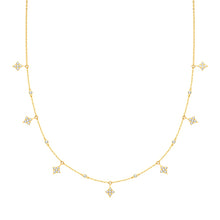 9ct Yellow Gold Diamond Shape Cubic Zirconia Necklet
