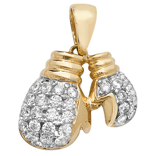 9ct Yellow Gold Dbl Boxing Glove Cubic Zirconia Pendant