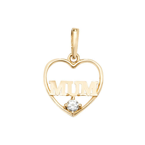 9ct Yellow Gold Heart Cubic Zirconia Pendant