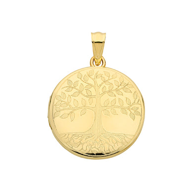 9ct Yellow Gold Round Tree Of Life Engraved   Locket