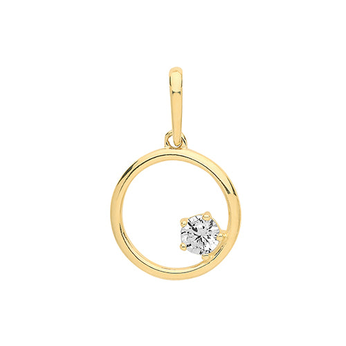 9ct Yellow Gold Cubic Zirconia In Circle Charm