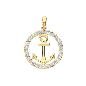 9ct Yellow Gold Cubic Zirconia Anchor Charm
