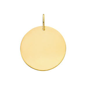 9ct Yellow Gold Round Plain Large Pendant