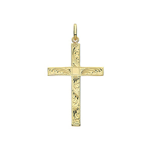 9ct Yellow Gold Semi Solid Cross H Engraved