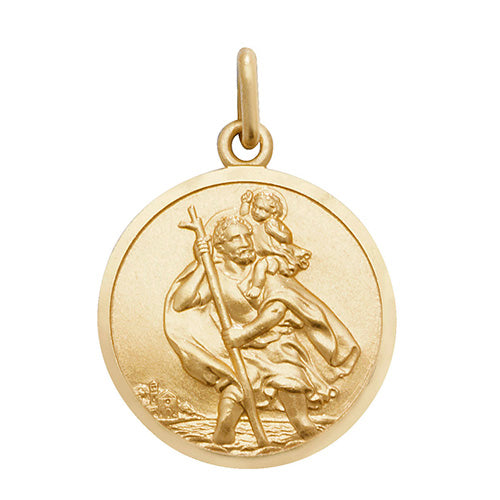 9ct Yellow Gold Rnd St Christopher Pendant