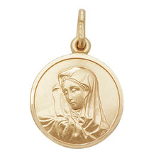 9ct Yellow Gold Round Virgin Mary Pendant