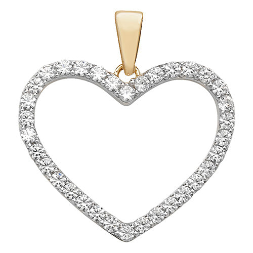 9ct Yellow Gold Cubic Zirconia Heart Pendant