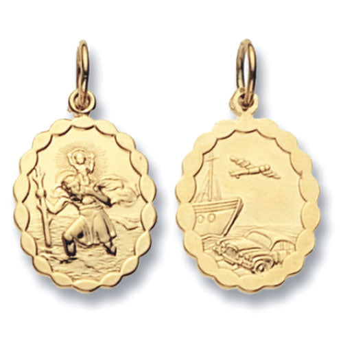 9ct Yellow Gold Round Dbl Sided St Christopher Pendant