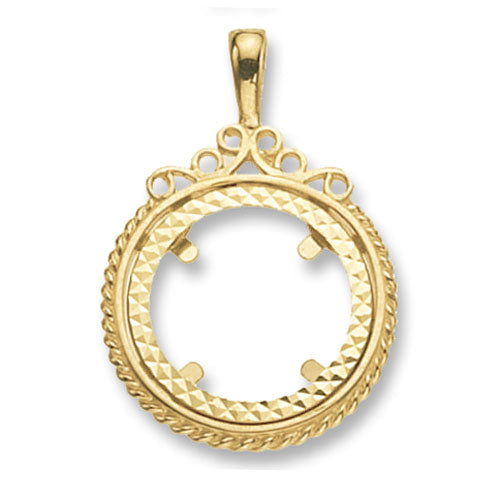 9ct Yellow Gold Half Coin Mount Pendant