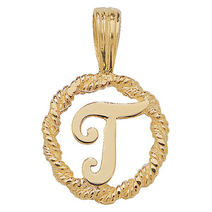 9ct Yellow Gold Rope Initial Pendant