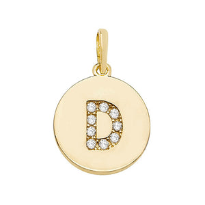 9ct Yellow Gold Round Cubic Zirconia Initial Pendant