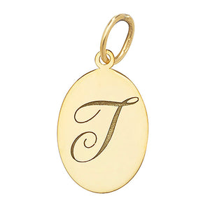 9ct Yellow Gold Oval Initial Pendant