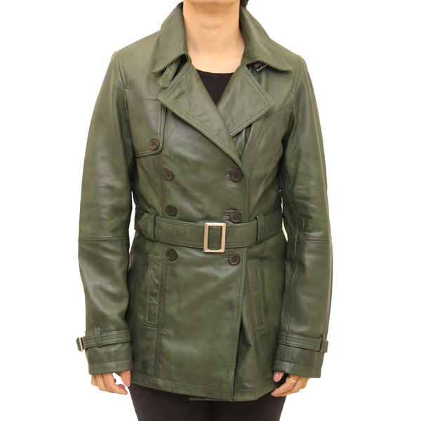 Womens smart black leather trench coat with belt fastening and smart shirt collar style.