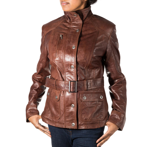 Womens real leather military / safari style fashionable jacket/coat with large stand collar.