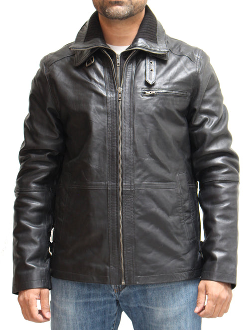 Mens Tailored Warm Biker Real Nappa Leather Jacket with detachable double collar. Available in Black and Brown