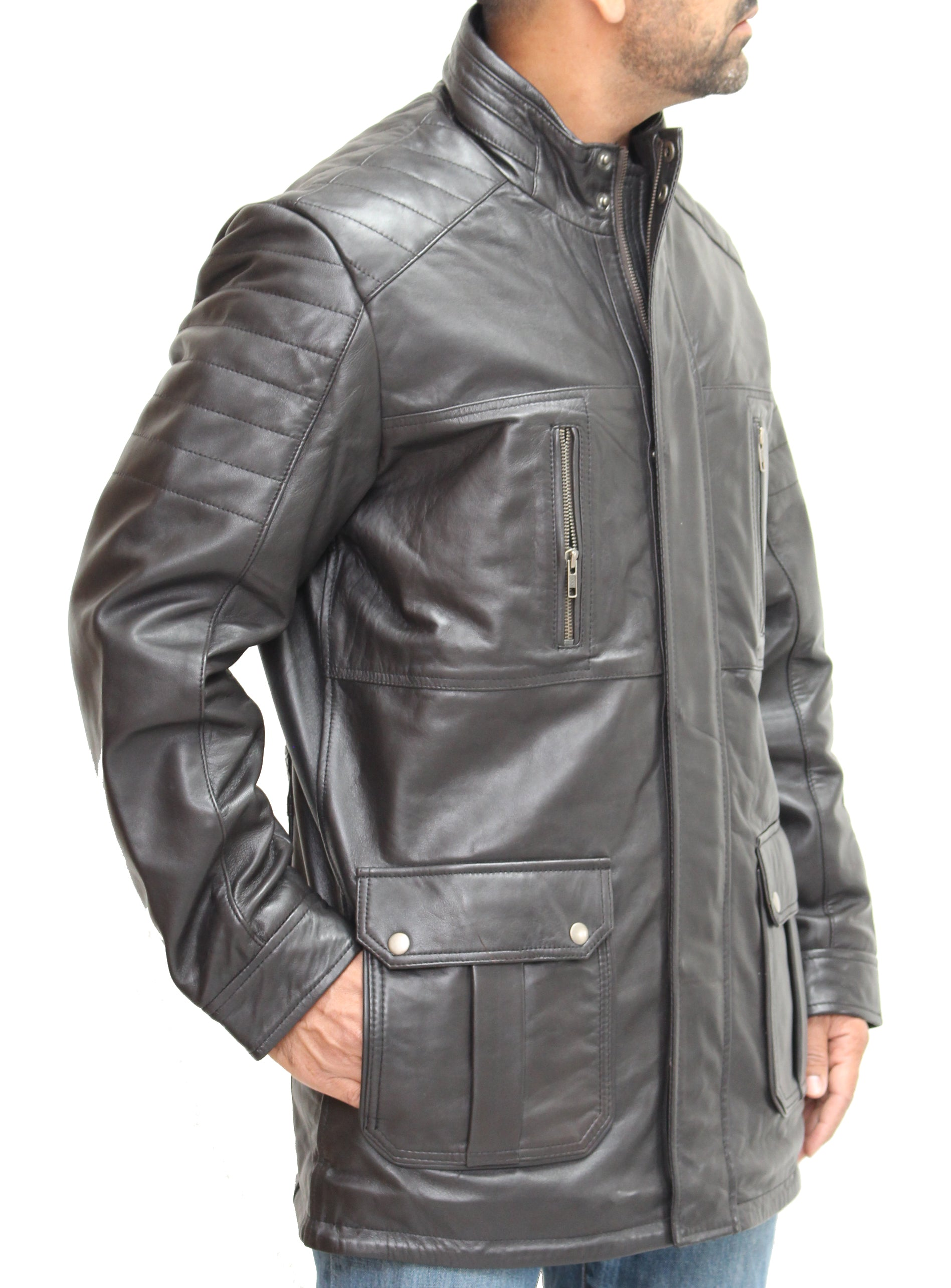 Mens real leather safari/hunter style leather coat with ribbed stitching detail. Available in Black and Brown