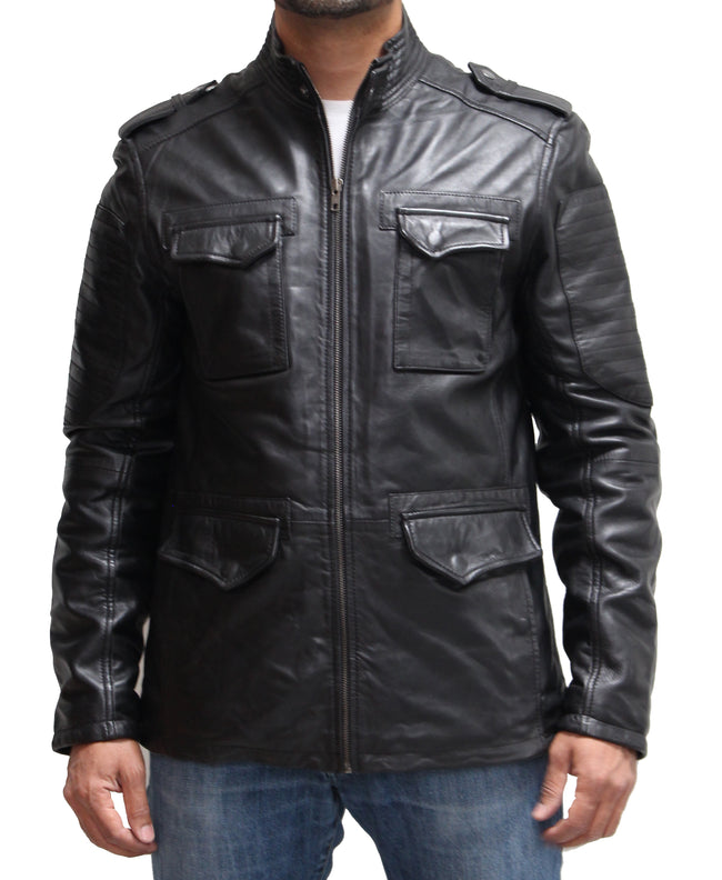 Mens Black Real Leather Safari Style Multi Pocket Coat