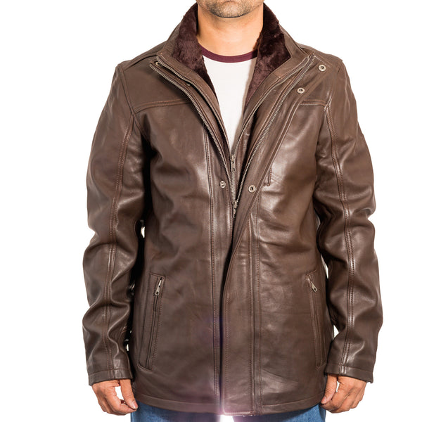 Mens Nappa leather long double collar smart winter coat with removable inner collar