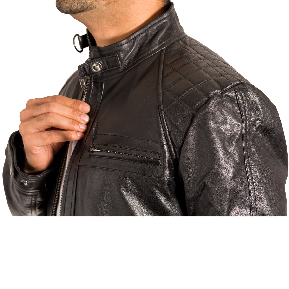 98d25bf6b953 Mens vintage leather quilted smart fitted retro style biker jacket ...