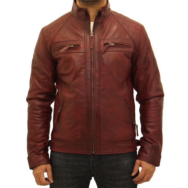 Mens soft sheep Nappa leather quilted fitted retro style biker jacket.