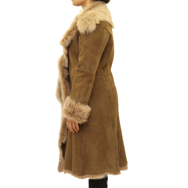 Womens luxuary waterfall long coat. Available in Suede leather finishing 3/4 length coat.