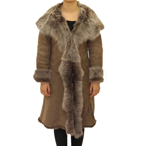 Womens luxuary waterfall 3/4 length coat in Suede leather finishing with hood