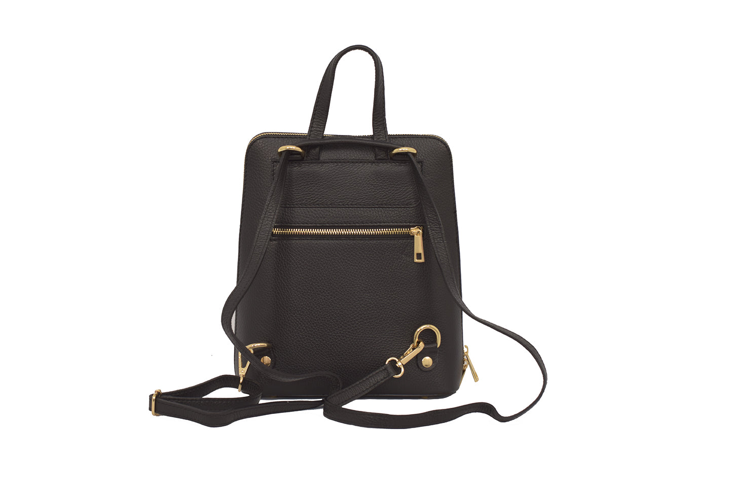 Black 3 in 1 - backpack / rucksack, cross body bag, and hand bag in one.