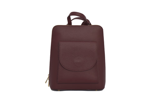 Burgundy 3 in 1 - backpack / rucksack, cross body bag, and hand bag in one.