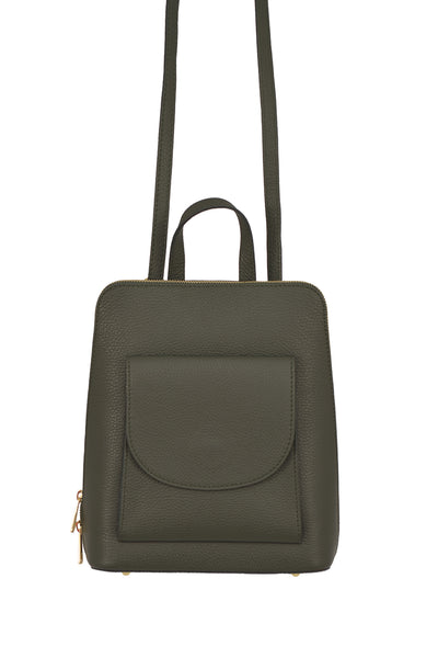Olive Green 3 in 1 - backpack / rucksack, cross body bag, and hand bag in one.