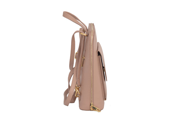 Pink 3 in 1 - backpack / rucksack, cross body bag, and hand bag in one.