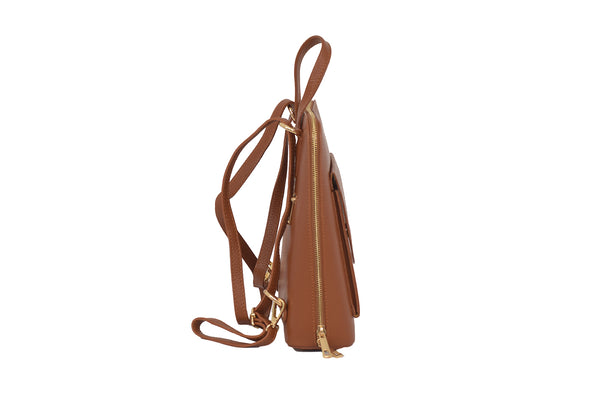 Tan 3 in 1 - backpack / rucksack, cross body bag, and hand bag in one.